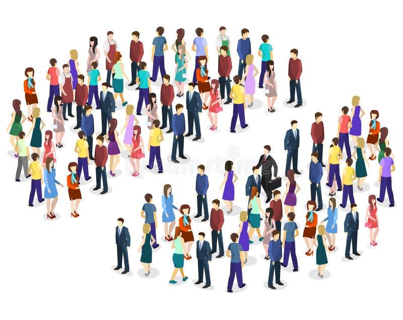Carta lisa isométrica de Infographic que consiste em uma multidão de povos ilustração royalty free