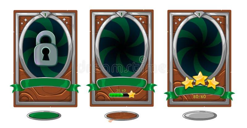 Carta livellata del fondo per progettazione mobile di ui del gioco Stelle della strega del nastro di vittoria illustrazione vettoriale