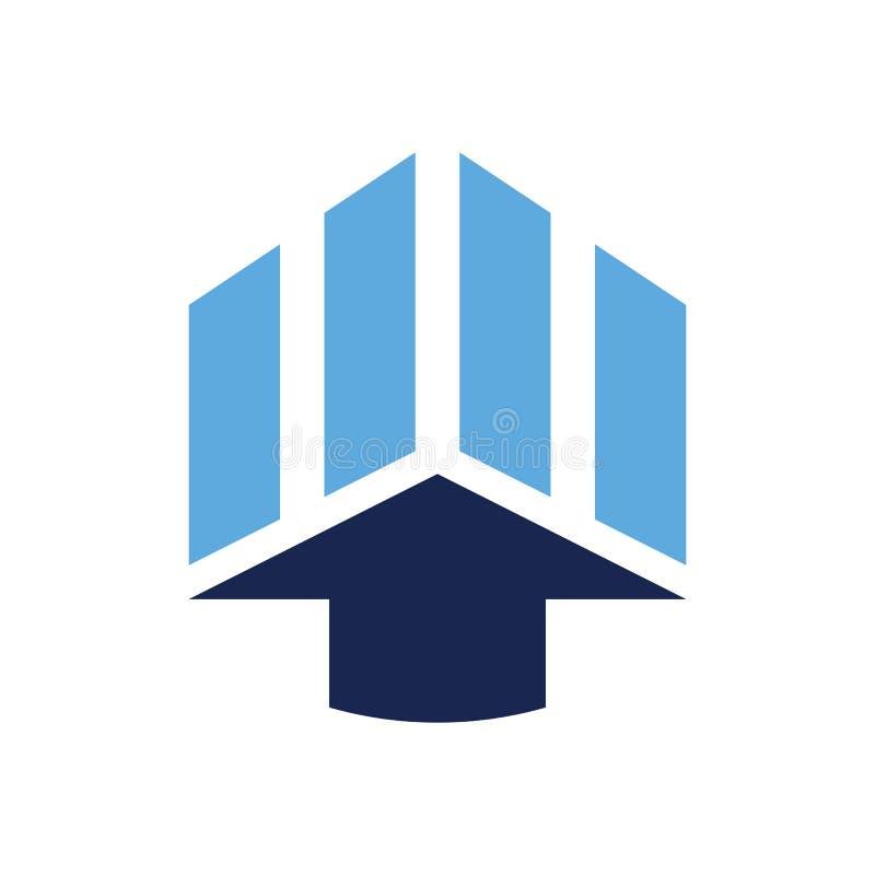 Carta Logo Vector azul de la flecha ilustración del vector