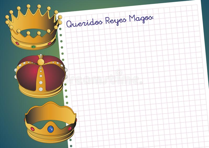 Carta a los reyes magos. Letter to three orient kings. Spanish tradition on january, 6 where the three wise men receive letters from children and so bring them royalty free illustration