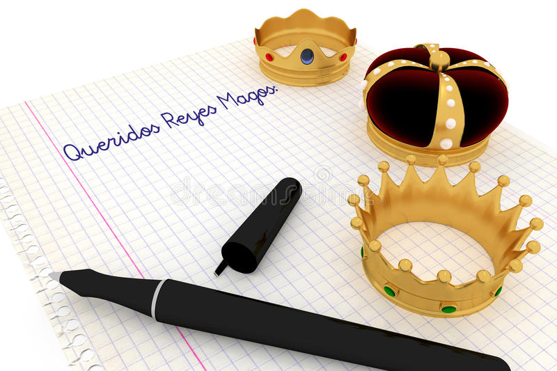 Carta a los Reyes Magos. Spanish tradition on january, 6 where the three wise men receive letters from children and so bring them gifts on the night before vector illustration