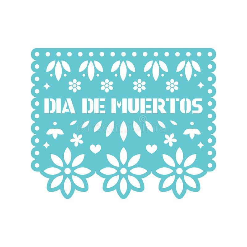 Carta luminosa con i fiori tagliati e le forme geometriche Picado di Papel illustrazione vettoriale
