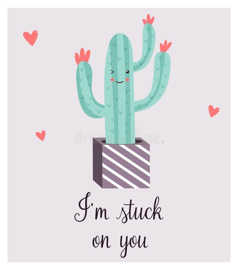 Carta luminosa con il cactus sorridente sveglio e la citazione illustrazione vettoriale