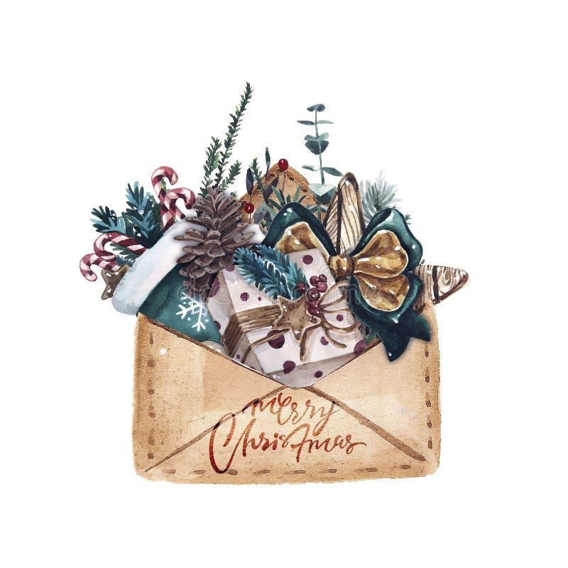 Carta luminosa di Buon Natale dell'acquerello con gli elementi di un umore di Natale e di una decorazione tradizionale Illustrazi illustrazione vettoriale