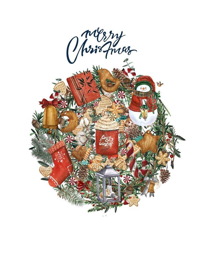Carta luminosa di Buon Natale dell'acquerello con gli elementi di un umore di Natale e di una decorazione tradizionale Illustrazi illustrazione di stock