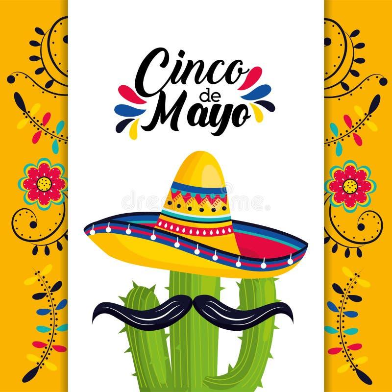 Carta messicana con la pianta del cactus e del cappello con i baffi illustrazione vettoriale