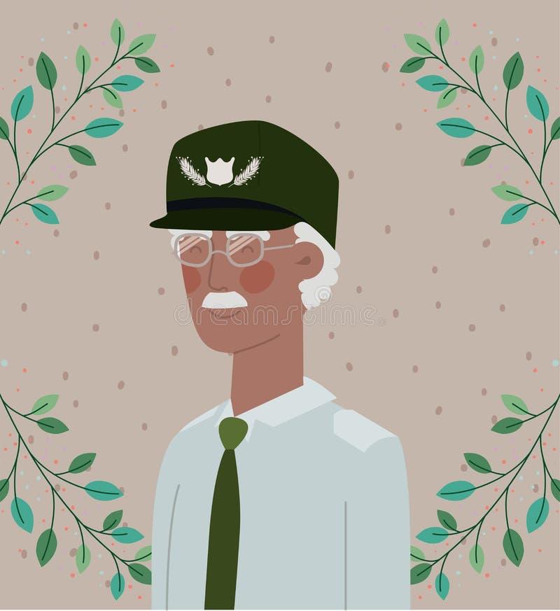 Carta militare di celebrazione del veterano di afro con le foglie royalty illustrazione gratis