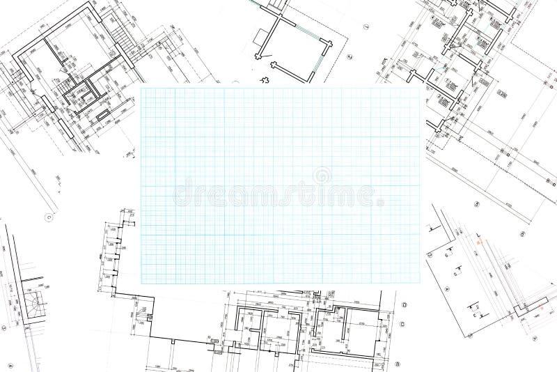 Carta millimetrata blu di griglia con il fondo dei modelli fotografia stock