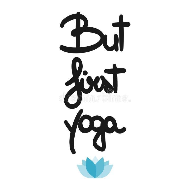 Carta motivazionale di yoga disegnata a mano ma prima di vettore sveglio con loto blu royalty illustrazione gratis