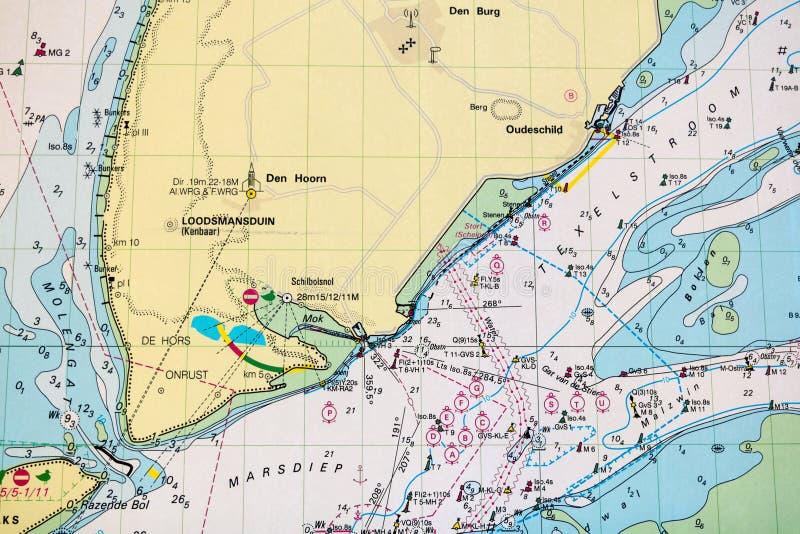 Carta náutica holandesa para a navegação marinha de Waddensea, Netherl fotografia de stock