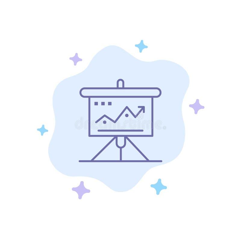 Carta, negocio, desafío, márketing, solución, éxito, icono azul de las táctica en fondo abstracto de la nube ilustración del vector