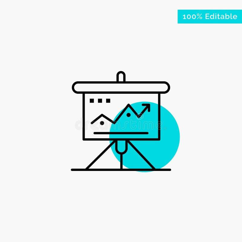 Carta, negocio, desafío, márketing, solución, éxito, icono del vector del punto del círculo del punto culminante de la turquesa d libre illustration
