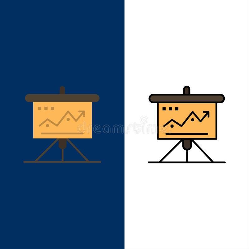 Carta, negocio, desafío, márketing, solución, éxito, iconos de las táctica El plano y la línea icono llenado fijaron el fondo azu libre illustration