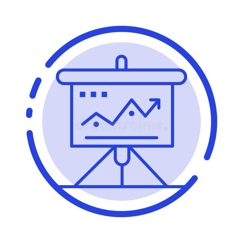 Carta, negocio, desafío, márketing, solución, éxito, línea de puntos azul línea icono de las táctica stock de ilustración