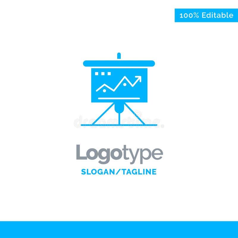Carta, negocio, desafío, márketing, solución, éxito, táctica Logo Template sólido azul Lugar para el Tagline ilustración del vector