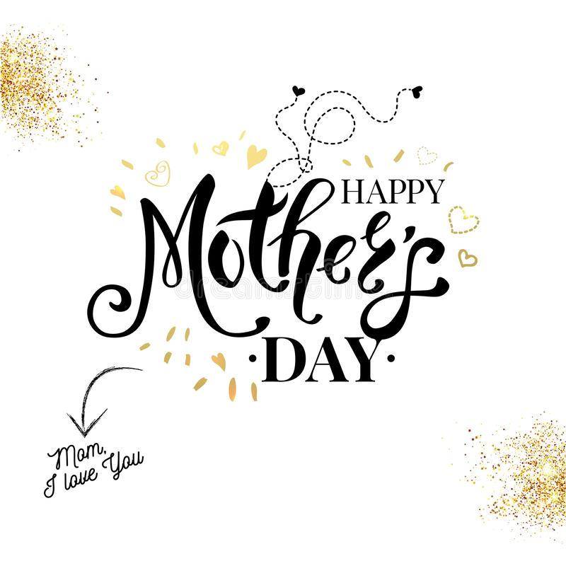 Carta nera, bianca e dell'oro sentimentale di madri di giorno illustrazione vettoriale
