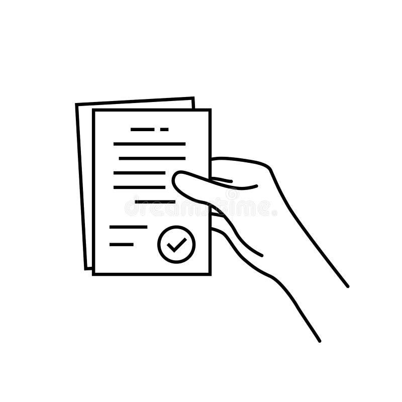 Carta nera del contratto della tenuta della mano di contorno illustrazione di stock