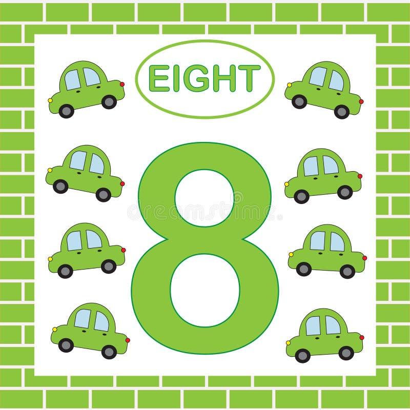 Carta numero educativa 8 otto con le automobili Apprendimento dei numeri, matematica illustrazione di stock