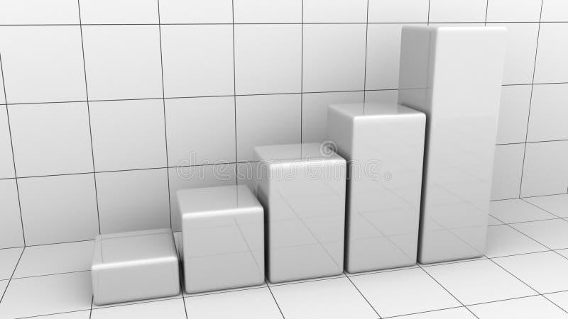 Carta o gráfico de barra cada vez mayor abstracta Crecimiento del negocio o representación de los conceptos 3D del éxito ilustración del vector