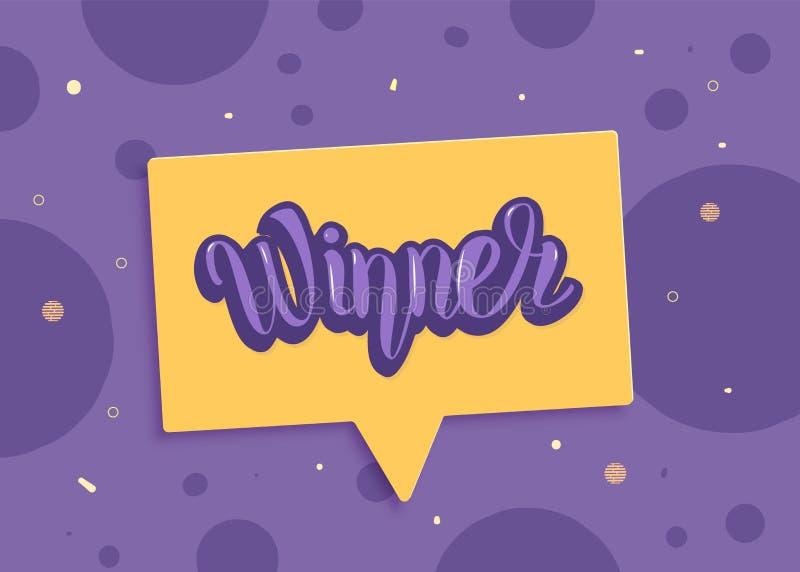 Carta orizzontale del vincitore con il fumetto Illustrazione di vettore illustrazione di stock