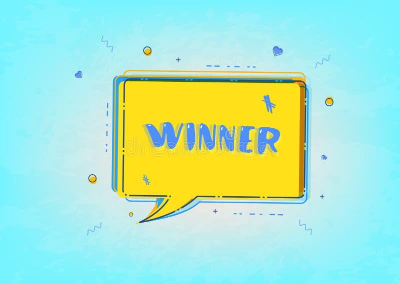 Carta orizzontale del vincitore con il fumetto Illustrazione di vettore royalty illustrazione gratis