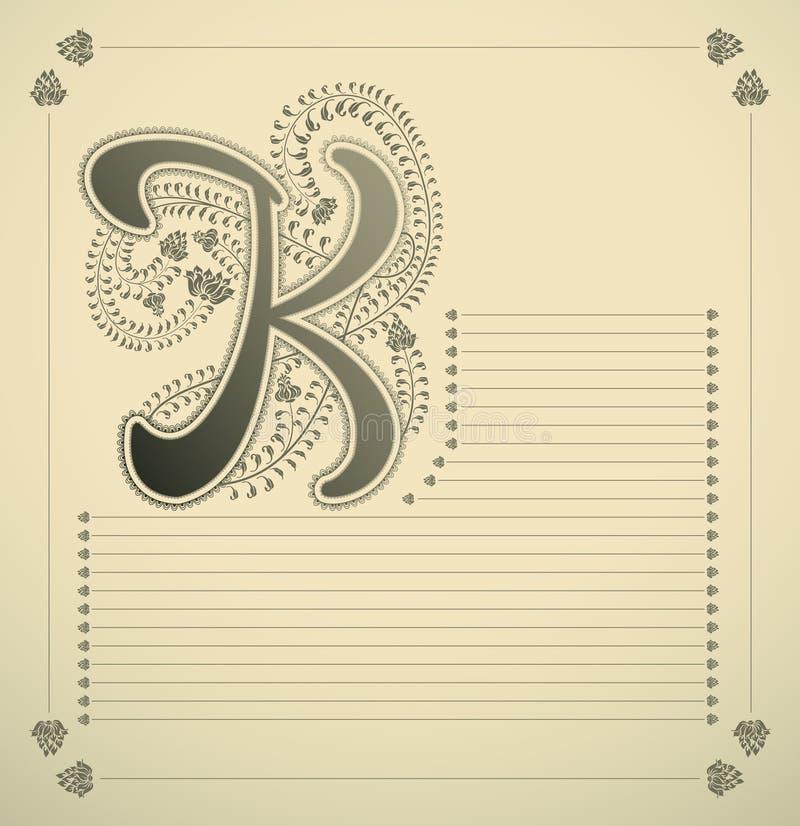 Carta ornamental - K ilustración del vector