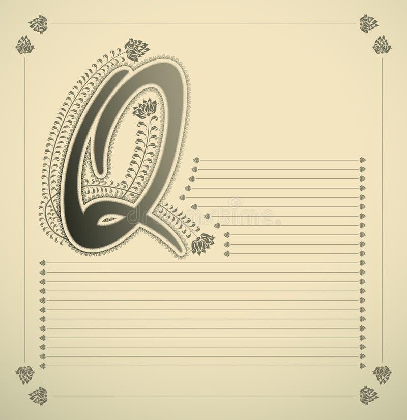 Carta ornamental - Q ilustración del vector