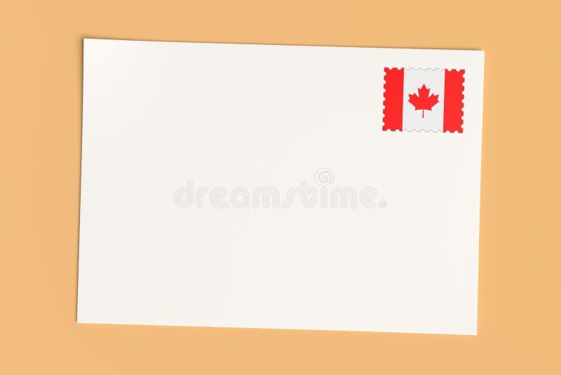 Carta Ou Cartão-postal Do Canadá: Cartão branco em branco em branco com carimbo canadiano de carimbo postal, ilustração 3d ilustração royalty free