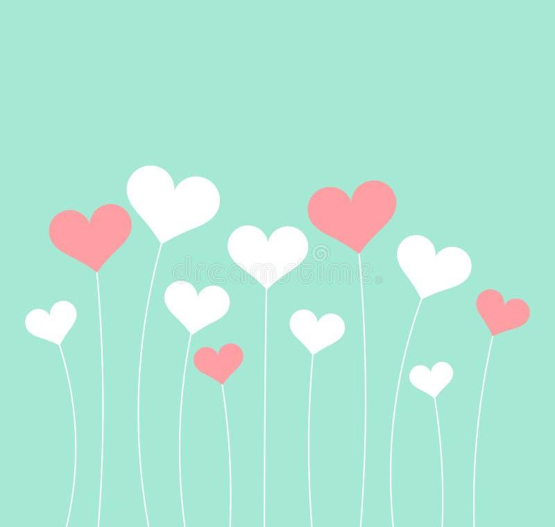 Carta pastello di giorno del ` s del biglietto di S. Valentino dei cuori illustrazione vettoriale