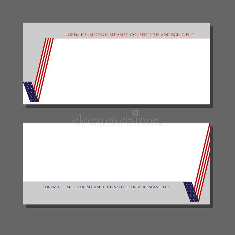 Carta patriottica del segno della verifica degli antecedenti con l'elemento di progettazione della bandiera americana per gli opu royalty illustrazione gratis