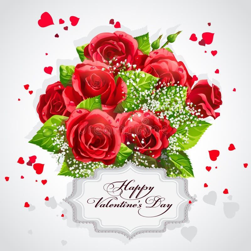 Carta per il cuore di San Valentino delle rose rosse illustrazione vettoriale