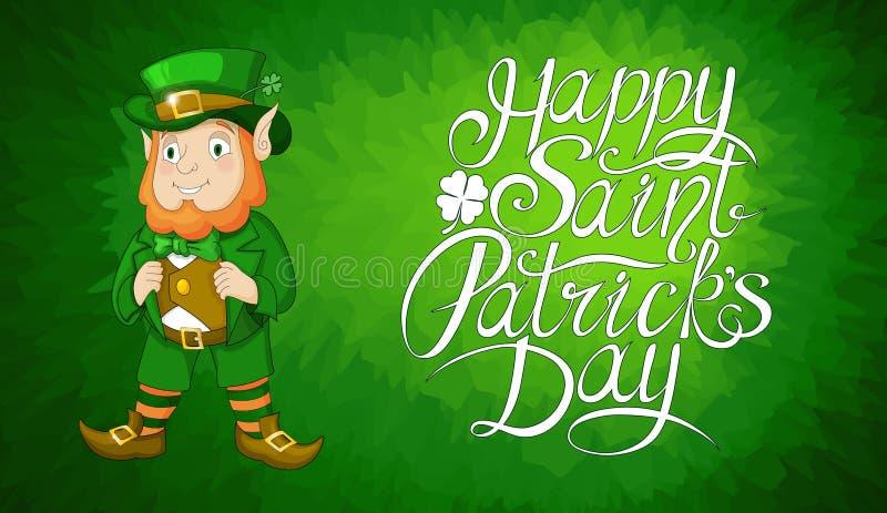 Carta per il giorno della st Patricks con il leprechaun in un vestito Giorno felice dei patricks del san royalty illustrazione gratis