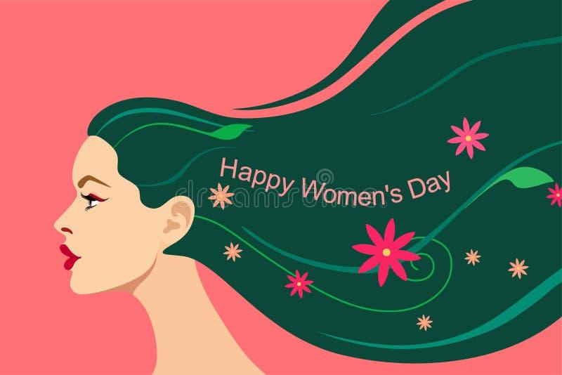 Carta per il giorno delle donne dell'8 marzo Bella testa di una ragazza con capelli luminosi scorrenti con le foglie, i fiori ed  illustrazione vettoriale