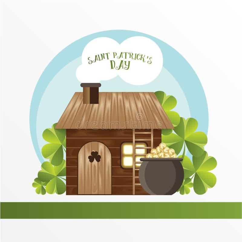 Carta per la st Patrick Day Casa del leprechaun ed il vaso con le monete dorate Stile divertente del fumetto illustrazione di stock