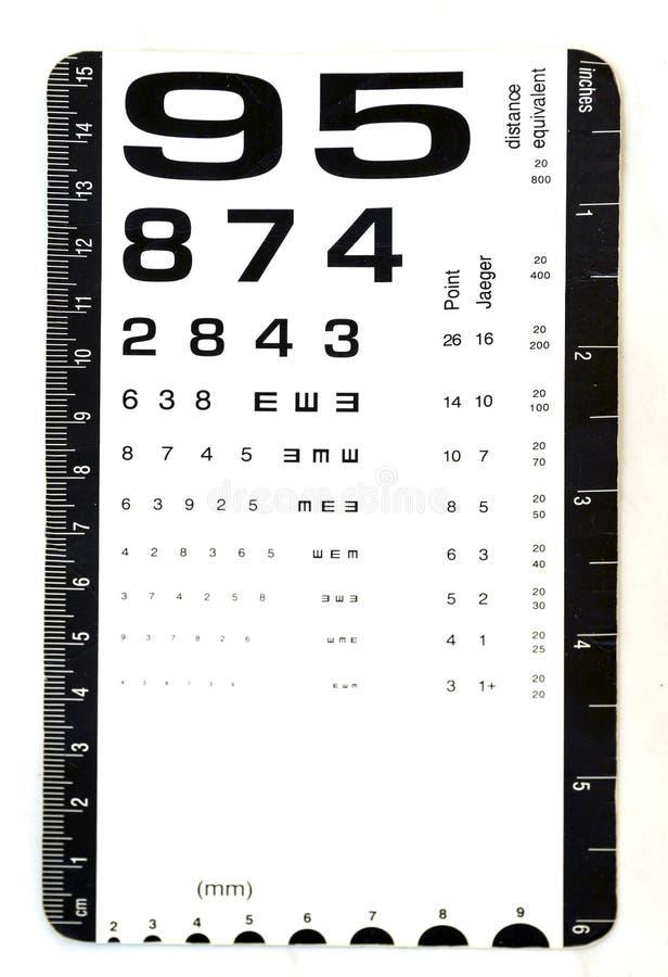 Carta per uso della prova dell'occhio da medici fotografia stock