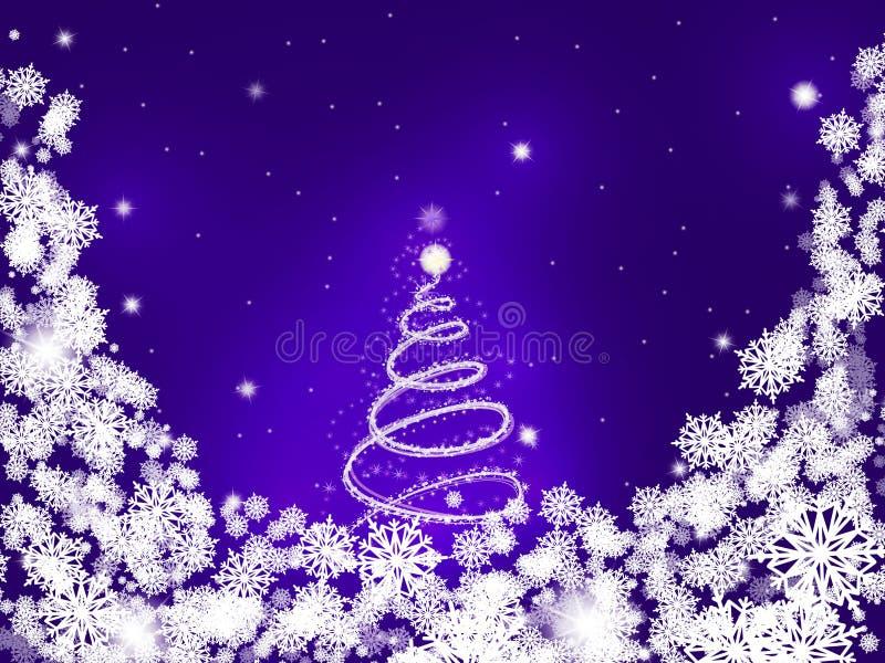 Carta porpora con un albero nevoso brillante nel centro circondato dai fiocchi di neve illustrazione di stock