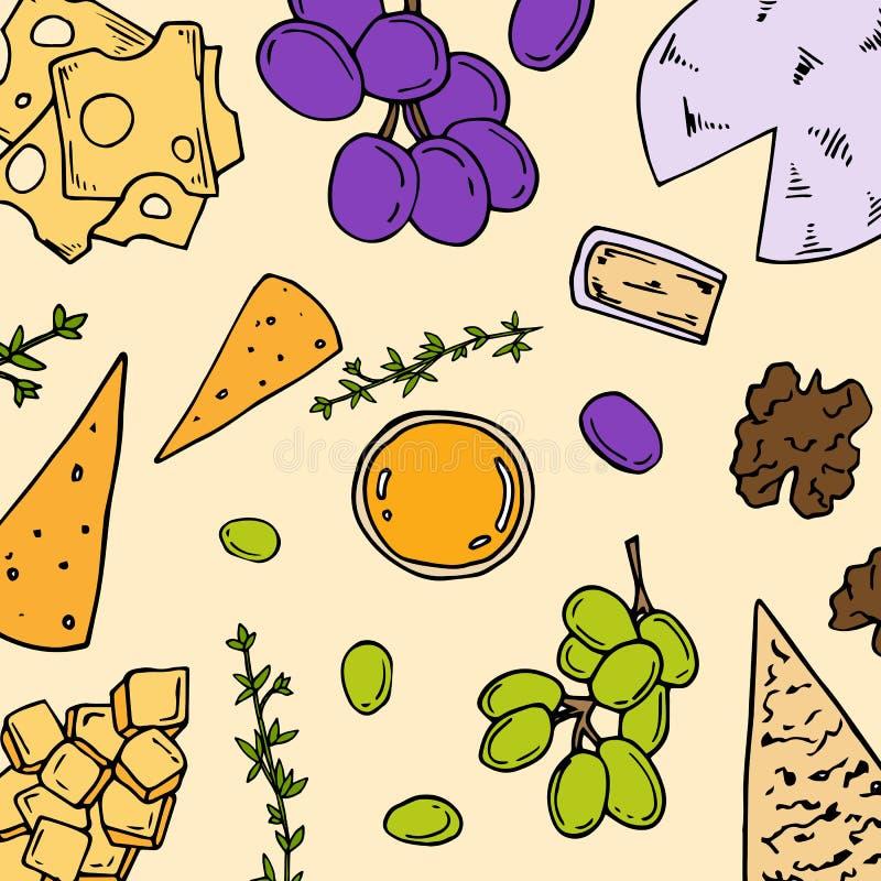 carta Pre-fatta con gli ingredienti dell'antipasto nello stile del fumetto Illustrazione di vettore royalty illustrazione gratis