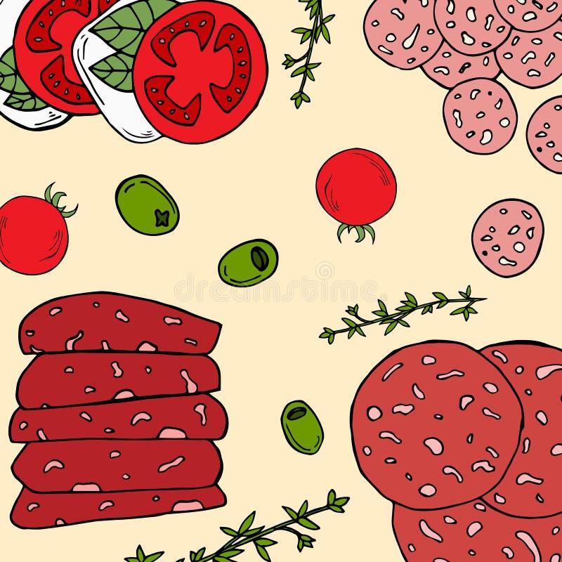 carta Pre-fatta con gli ingredienti dell'antipasto nello stile del fumetto Illustrazione di vettore illustrazione vettoriale