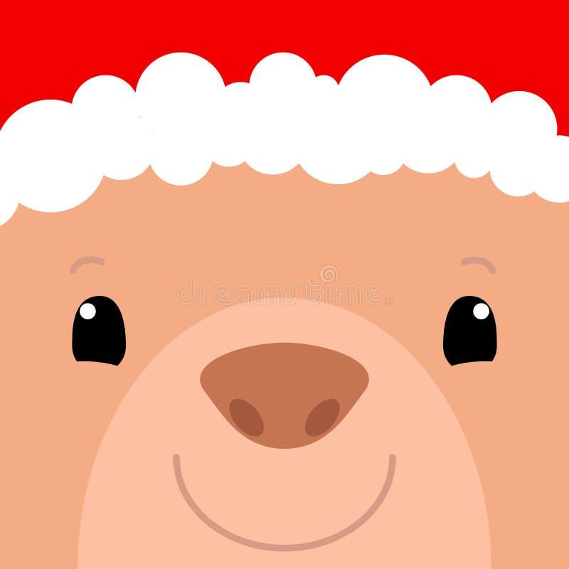 Carta quadrata del fronte sveglio dell'orso Cappello di Santa Claus sull'illustrazione di vettore dell'orso Insegna quadrata del  royalty illustrazione gratis