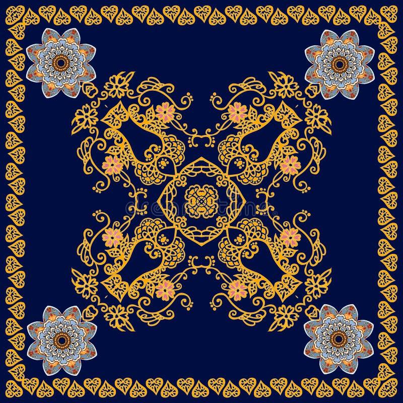 Carta quadrata sveglia, modello della scatola del tè o scialle alla moda nello stile etnico Mandale dei fiori e modello ornamenta royalty illustrazione gratis