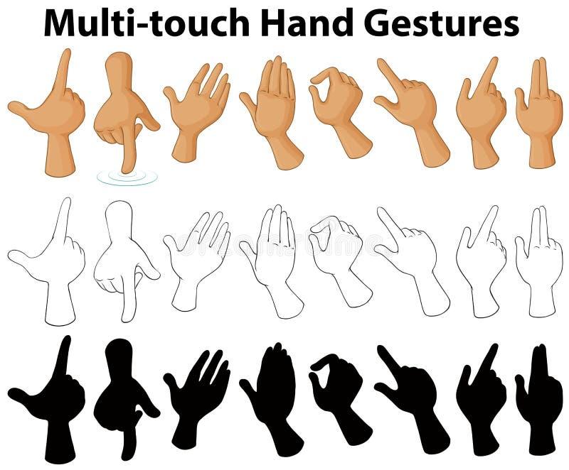 Carta que muestra gestos de mano multi-touch libre illustration