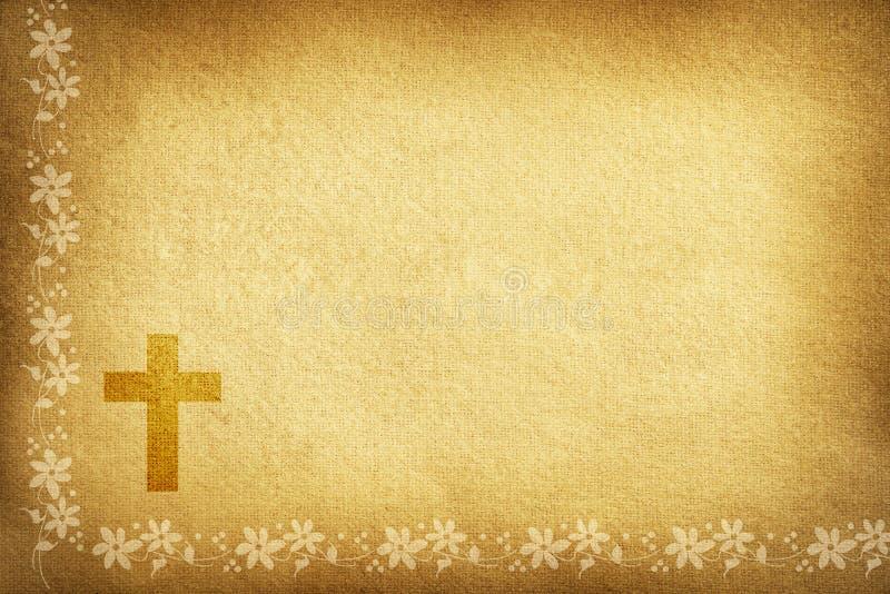 Carta religiosa con i fiori e l'incrocio del tessuto illustrazione vettoriale