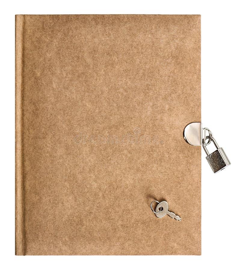 Carta riciclata fondo bianco isolata di chiave di catenaccio del libro fotografia stock