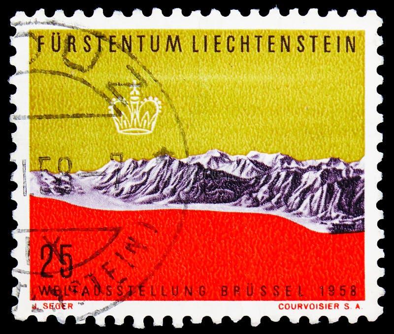 Carta in rilievo serie del Liechtenstein, Bruxelles dell'Expo, circa 1958 fotografia stock