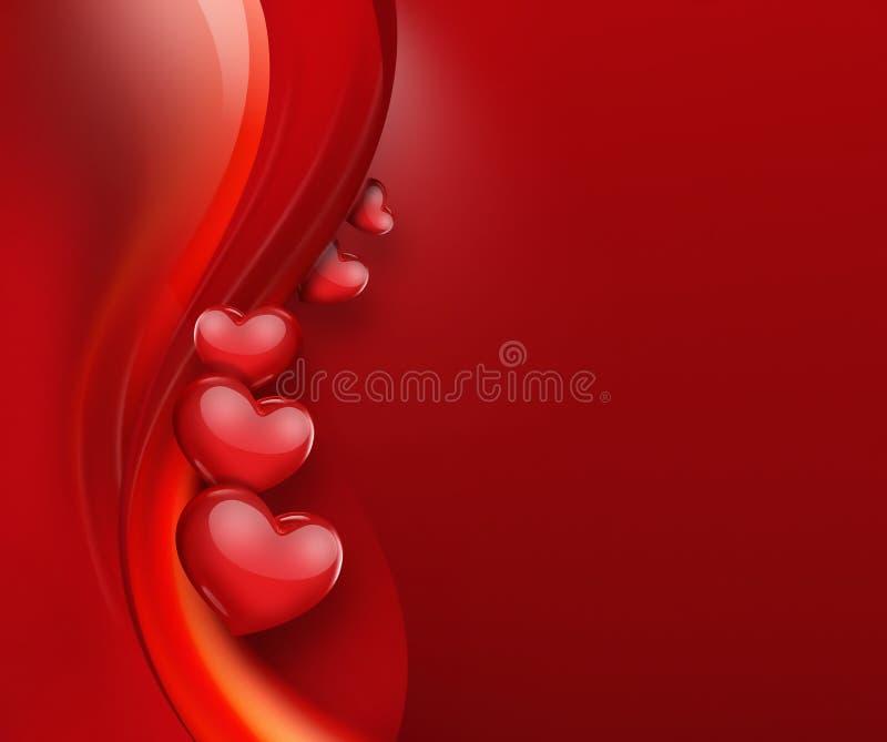 Carta romantica con i cuori rossi illustrazione vettoriale