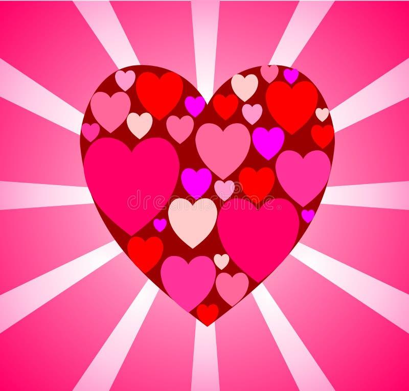 Carta rosa delicata con un grande cuore rosso di molti piccoli nel cen illustrazione di stock
