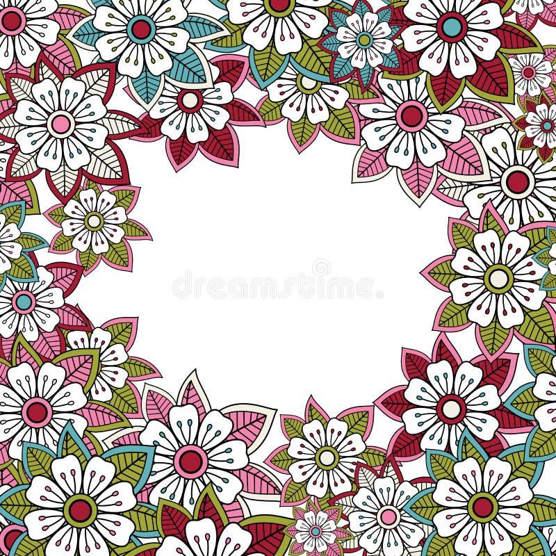 Carta rosa floreale dell'invito o di saluto illustrazione di stock