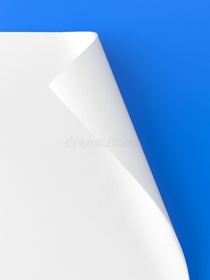 Carta rotolata su fondo blu illustrazione vettoriale