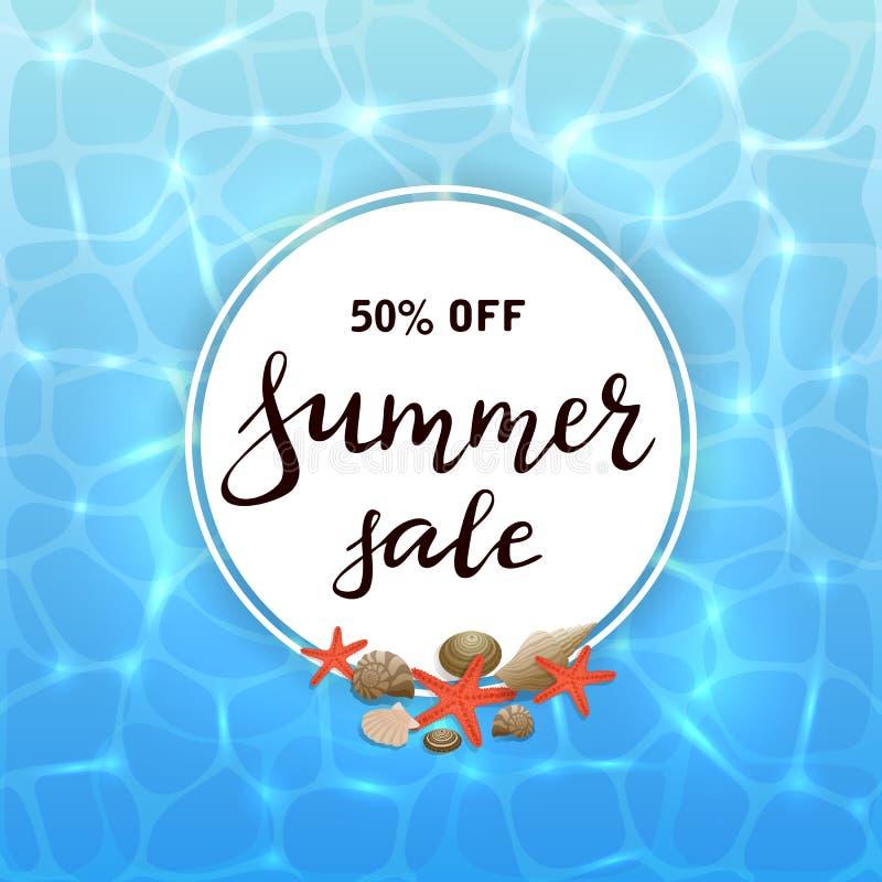 Carta rotonda sul fondo dell'acqua con la vendita di estate dell'iscrizione illustrazione vettoriale