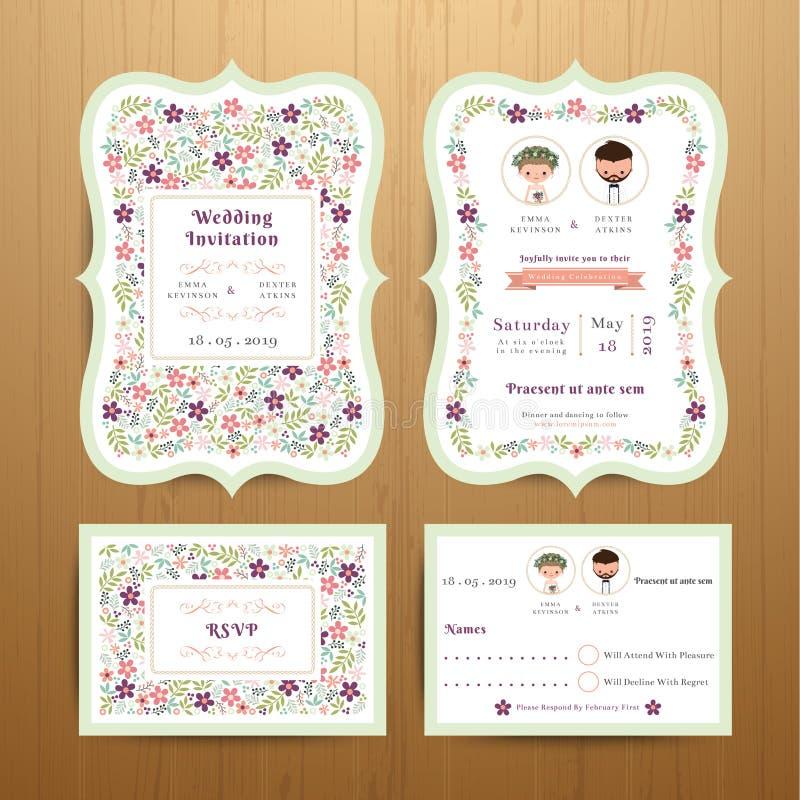 Carta rustica dell'invito di nozze dei fiori del fiore ed insieme di RSVP illustrazione vettoriale